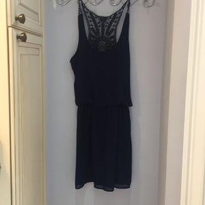 Navy blue detailed back dress